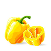 Fresh yellow bell peppers on white — Stock Vector