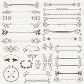 Vintage hand drawn design elements set — Stock Vector