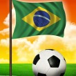 Brasilian flag and ball — Stock Photo