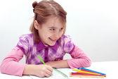 Girl drawing — Stock Photo