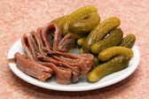 Salted fish and pickles — Stock Photo