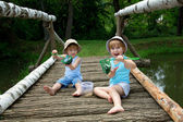 Adorable Little Twin Brothers Sitting on a Wooden Bridge and Holding a Fishnet Full of Fish at the Lake at Summer — Stock Photo