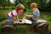 Adorable Little Twin Brothers Sitting on a Wooden Bench and  Looking at Interesting Pictures in the Book Near the Beautiful  Lake — Stock Photo