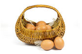 Brown Chicken Eggs and Pen in a Wicker Basket Isolated on White — Stock Photo