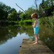 Adorable Little Boy Fishing from Wooden Dock on a Lake in Sunny Day — Stock Photo #50974765