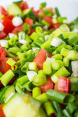 Vegetable salad with fresh tomatoes cucumbers and green onions — Stock Photo