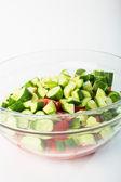 Skivad tomat skivor i en skål — Stockfoto