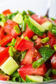 Ensalada de verduras con tomates frescos pepinos y cebollas verdes — Photo