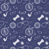 Pattern with old bicycle and glasses — Stock Vector