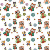 Seamless pattern with owl and button — Stock Vector
