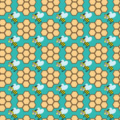 Seamless pattern with bees and honeycombs — Stockvector