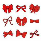 Red bows on white background — Stock Vector