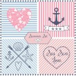 Set of sea themed objects: anchor, hearts, shells, sea star, stripes and ribbon. — Stockvector  #43442823