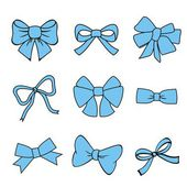 Blue bows on white background. — Stock Vector
