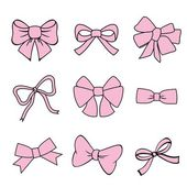 Pink bows on white background — Stock Vector