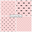 Set of four retro seamless backgrounds with stars, bows, hearts and dots. Vector patterns. — Stock Vector #50010763