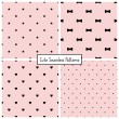 Set of four retro seamless backgrounds with stars, bows, hearts and dots. Vector patterns. — Stock Vector