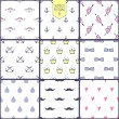 Vector seamless patterns set: bow, crown, anchor, drop, heart, mustache. Cute hipster backgrounds. — Stock Vector #50010771
