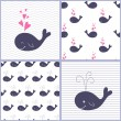 Cute cartoon whales. seamless patterns. set of vector illustrations — Stock Vector