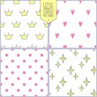 Set of four cute seamless backgrounds with star, crown, heart and dots. Vector patterns. — Stock Vector #50011699
