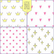 Set of four cute seamless backgrounds with star, crown, heart and dots. Vector patterns. — Stock Vector