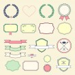 Set of retro labels, ribbons, laurel wreaths and cards for vintage design. vector illustration. — Stock Vector #50011703