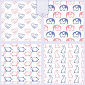 Seamless patterns with cute animals. Baby shower set. Vector illustration. — Stock Vector