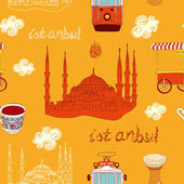 Istanbul street seamless pattern — Stock Vector