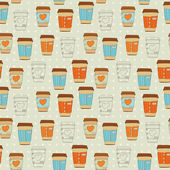 Cute coffee cup seamless pattern — Stock Vector
