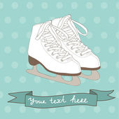 Postcard design with ice skates — Stock Vector