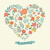 Cute retro postcard to Valentine's Day — Stock Vector
