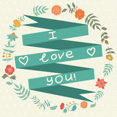 Vector ribbon with had drawn flower and sign love you — Stock Vector