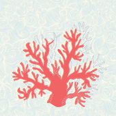 Hand drawn coral in on sea background — Stock Vector