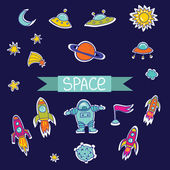 Vector set of space. Vector rockets and UFO — Stock Vector