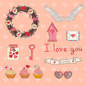 Vector set to Valentine's Day — Vector de stock