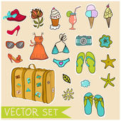 Vektor-sommer-set — Stockvektor