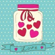 Vector cute jar with hearts to Valentine's Day — Stock Vector
