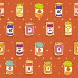 Jars of jam seamless pattern — Stock Vector