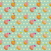 Vector cute cupcakes pattern to Valentine's Day — Stock Vector