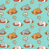 Vector cartoon cats seamless pattern — Stock Vector