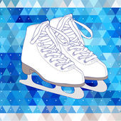 Vector card design with ice skate on the blue triangle background. — Stock Vector