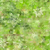 Vector green triangle background and hand drawn doodle flowers. — Stock Vector