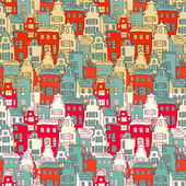 Vector Amsterdam city pattern with tulips. — Vector de stock