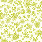Doodle flower seamless pattern — Stock Vector