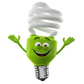 Happy spiral light bulb with hands up — Stock Photo