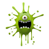 Screaming green one-eyed monster — Stock Photo