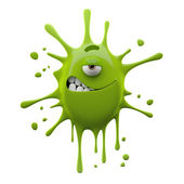 One-eyed green monster with ironic smile — Stock Photo