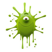 Green one-eyed monster with closed mouth — Stock Photo