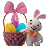 Nice easter bunny near basket — Stock Photo