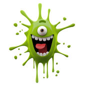 Exciting green one-eyed monster — Stock Photo